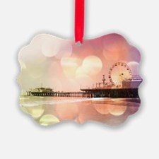 Sparkling Pink Santa Monica Pier Ornament