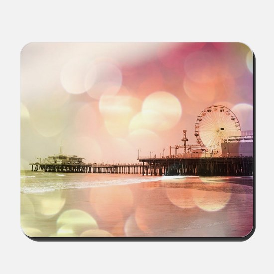 Sparkling Pink Santa Monica Pier Photo E Mousepad