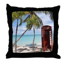 Red public Telephone Booth on Antigua Throw Pillow