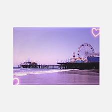 Purple Hearts Pier Rectangle Magnet