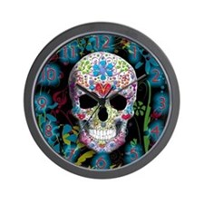Decorated Skull Clock Wall Clock