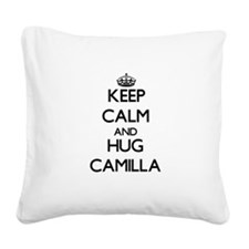 Keep Calm and HUG Camilla Square Canvas Pillow