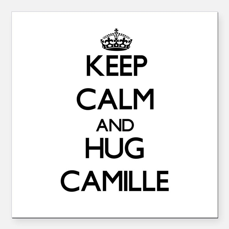 """Keep Calm and HUG Camille Square Car Magnet 3"""" x 3"""
