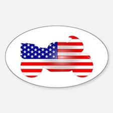 Red, White, & Blue Bike Oval Decal