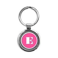 Pink E Monogram Round Keychain