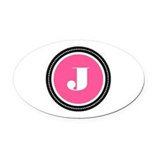 Pink Oval Car Magnet