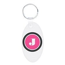 Pink Aluminum Oval Keychain