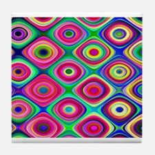 Colorful Psychedelic Round Checks Tile Coaster