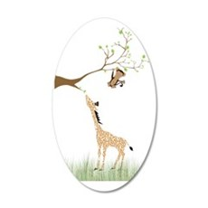 Monkey and tree branch 35x21 Oval Wall Decal