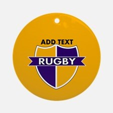 Rugby Crest Purple Gold gld Ornament (Round)