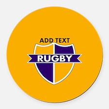 Rugby Crest Purple Gold gld Round Car Magnet