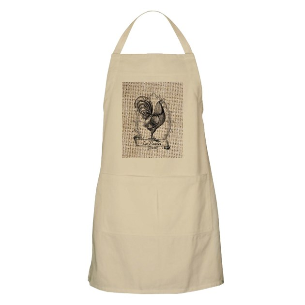 French Country Rooster Decor Burlap Texture Apron By