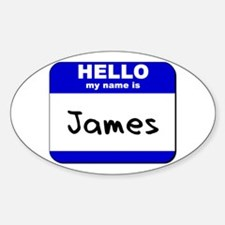 hello my name is james Oval Decal