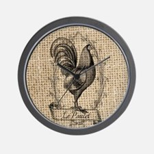 rustic country rooster decor burlap Wall Clock