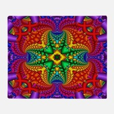 Rainbow Fractal Pattern Throw Blanket