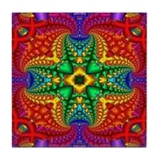 Rainbow Fractal Pattern Tile Coaster