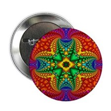 "Rainbow Fractal Pattern 2.25"" Button"