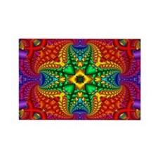 Rainbow Fractal Pattern Rectangle Magnet
