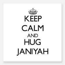 """Keep Calm and HUG Janiyah Square Car Magnet 3"""" x 3"""