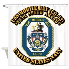 USS Mobile Bay (CG-53) With Text Shower Curtain