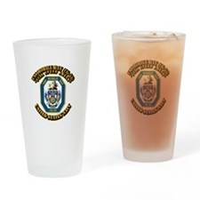 USS Mobile Bay (CG-53) with Text Drinking Glass