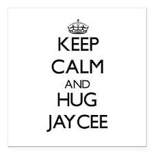 "Keep Calm and HUG Jaycee Square Car Magnet 3"" x 3"""