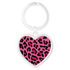 HOT PINK LEOPARD Heart Keychain