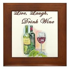 Live Laugh Wine Framed Tile