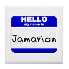 hello my name is jamarion  Tile Coaster