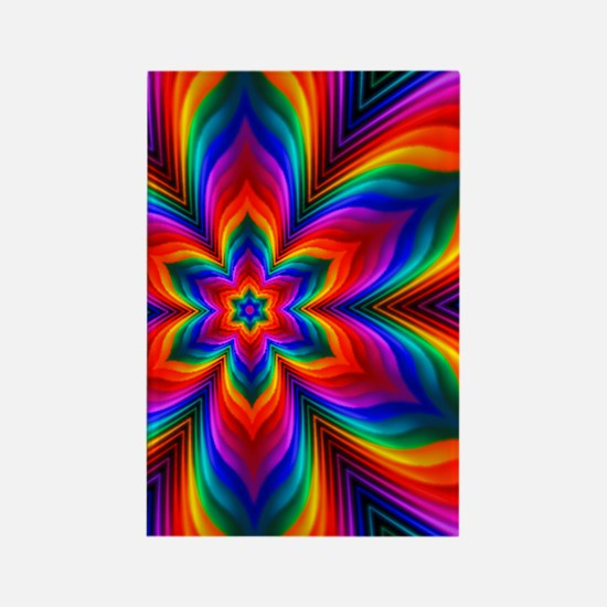 Rainbow Flower Fractal Rectangle Magnet