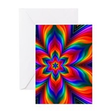 Rainbow Flower Fractal Greeting Card