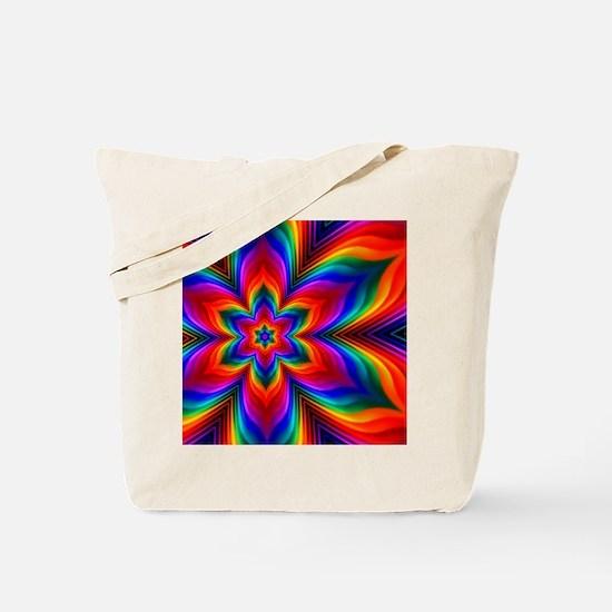 Rainbow Flower Fractal Tote Bag