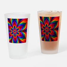 Rainbow Flower Fractal Drinking Glass