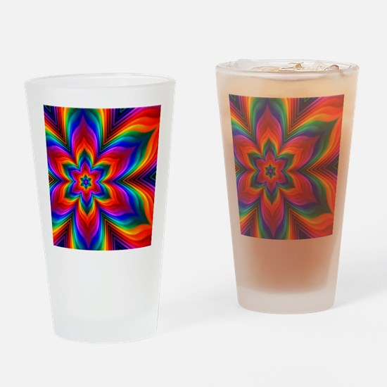 Rainbow Flower Fractal Drinking Glass