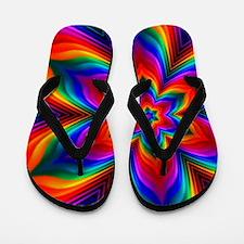 Rainbow Flower Fractal Flip Flops