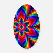 Rainbow Flower Fractal Oval Car Magnet