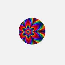 Rainbow Flower Fractal Mini Button
