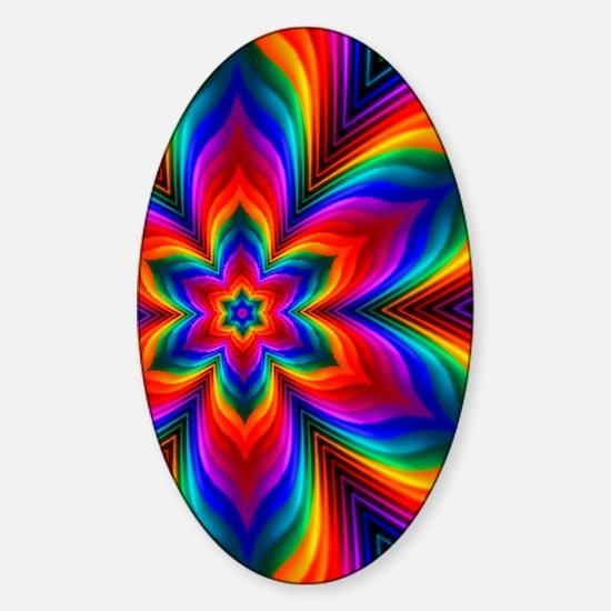 Rainbow Flower Fractal Sticker (Oval)
