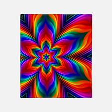 Rainbow Flower Fractal Throw Blanket