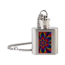 Rainbow Flower Fractal Flask Necklace