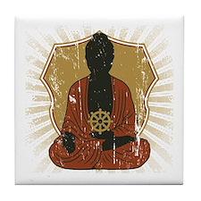 Buddha Meditating With Dharma Wheel Tile Coaster