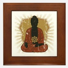 Buddha Meditating With Dharma Wheel Framed Tile