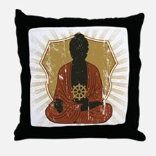 Buddha Meditating With Dharma Wheel Throw Pillow