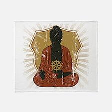 Buddha Meditating With Dharma Wheel Throw Blanket