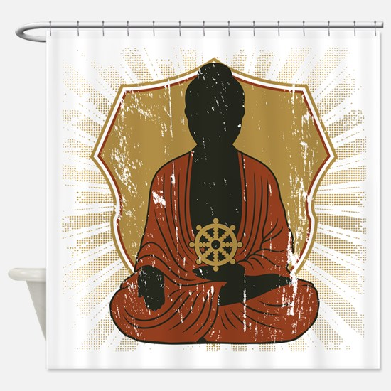Buddha Meditating With Dharma Wheel Shower Curtain