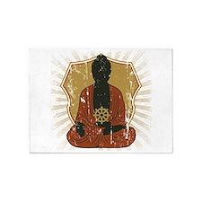 Buddha Meditating With Dharma Wheel 5'x7'Area Rug