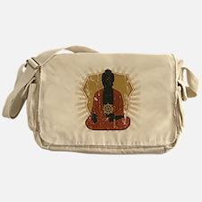 Buddha Meditating With Dharma Wheel Messenger Bag