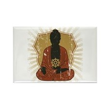 Buddha Meditating With Dharma Wheel Rectangle Magn