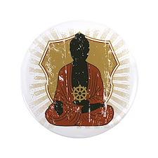 "Buddha Meditating With Dharma Wheel 3.5"" Button"