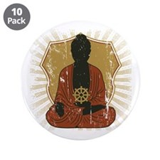 "Buddha Meditating With Dharma Wheel 3.5"" Button (1"
